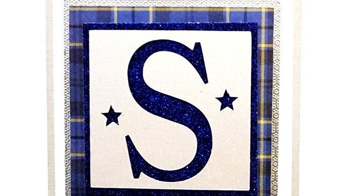 His n Hers Initial S male personalised tartan birthday card