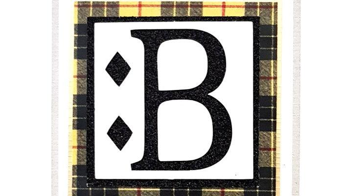 His n Hers Initial B male personalised tartan birthday card