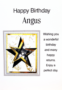 male personalised birthday card with black and white tartan star on gold back.