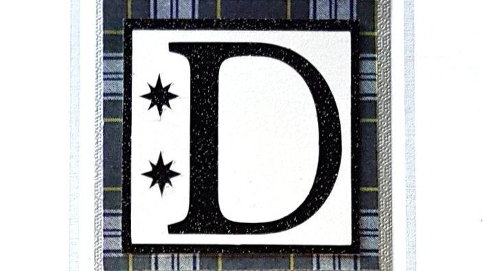 His n Hers Initial D male personalised tartan birthday card