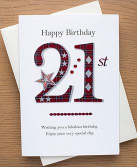 21st tartan birthday card for boys