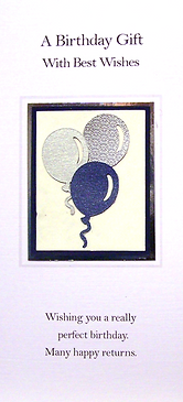 male money wallet with blue and silver balloons