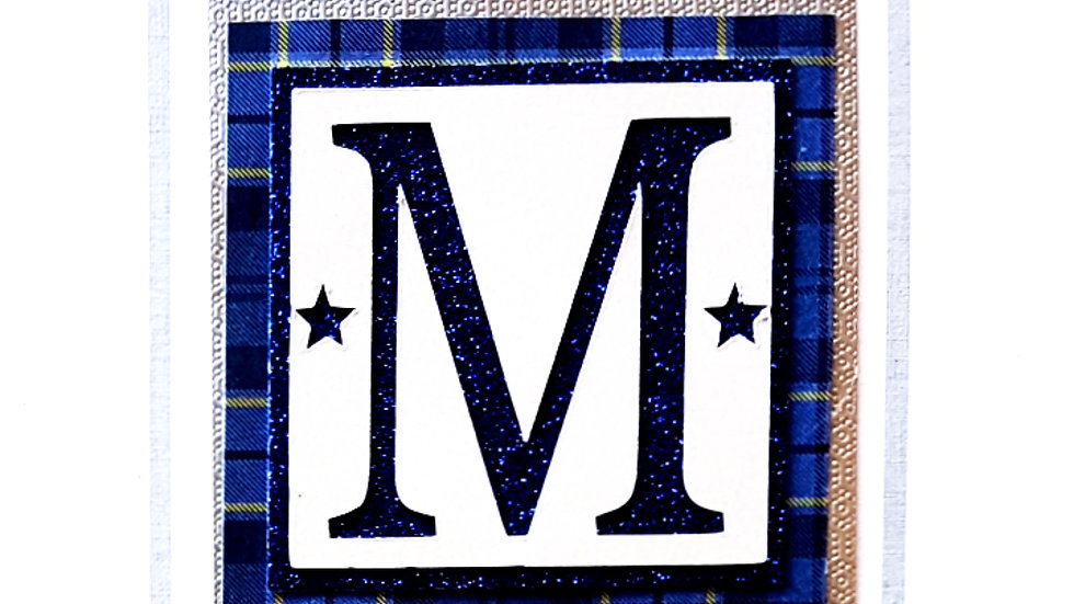 His n Hers Initial male tartan personalised birthday card (m5)