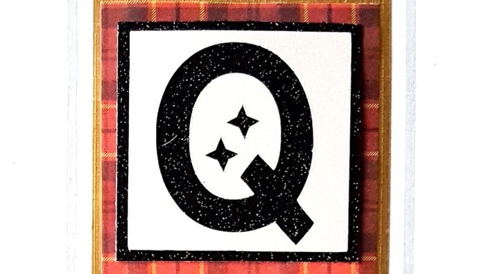 His n Hers Initial Q male personalised tartan birthday card