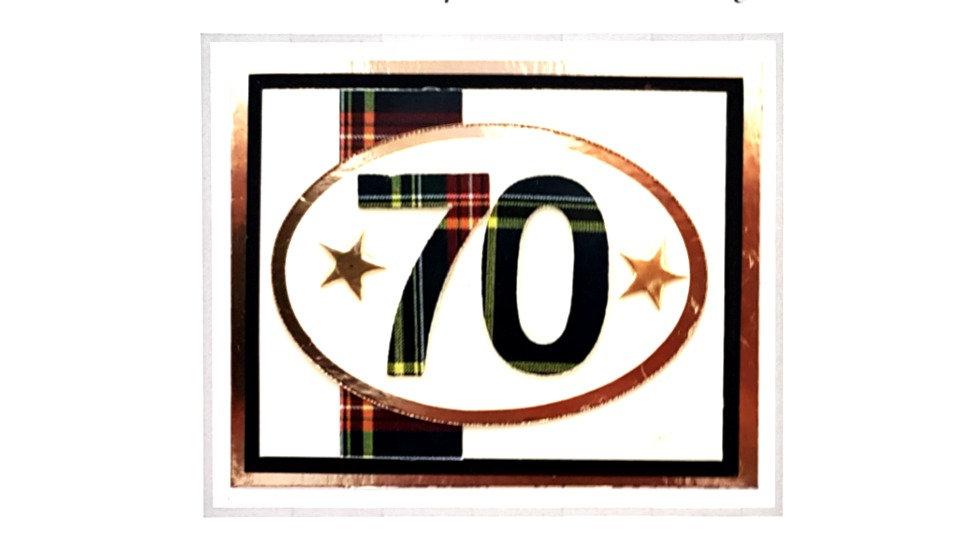 male age 70 tartan birthday card (BS158)