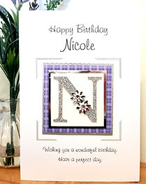 Initial personalised birthday card for women