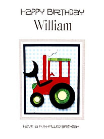 tractor on a blue gingham back childs personalised birthday card