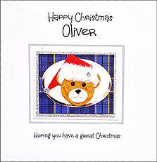 Boys Personalised Christmas card Bear with Santa hat on blue tartan