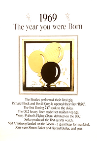 The year you were born male birthday card with balloons design for any year from 1920 to 1979