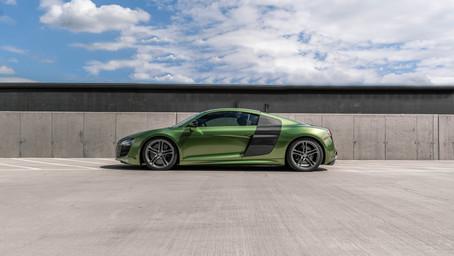 'Metallic Mamba Green' wrapped Audi R8