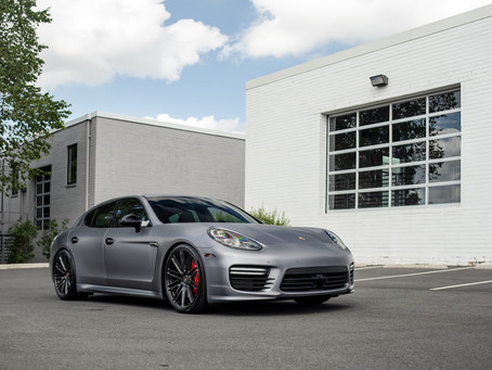 Porsche Panamera Turbo wrapped in Brushed Steel