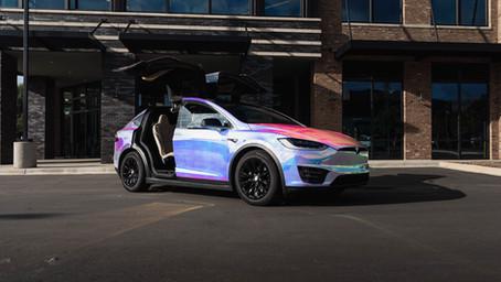 Holographic Chrome Tesla Model X