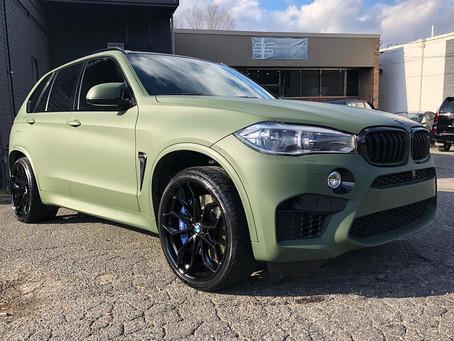 BMW X5M Matte Olive Green Vehicle Wrap