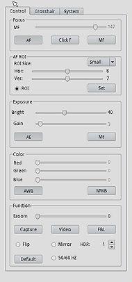 HDAF207 Camera Control Settngs