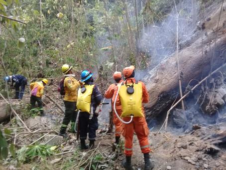 Bomberos con ayuda de helicóptero trabajan para liquidar incendio en Sierra Nevada