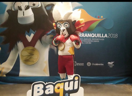 """""""Baqui"""" the Cotton-Top Tamarin mascot of the 2018 Central American games"""