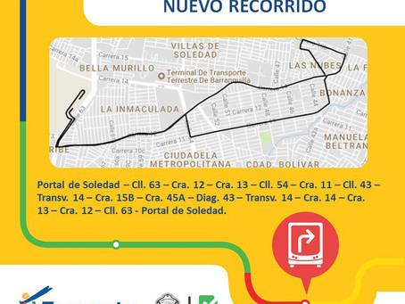 Nuevo recorrido de la ruta A3-2 Soledad 2000 de Transmetro no pasará por la Terminal