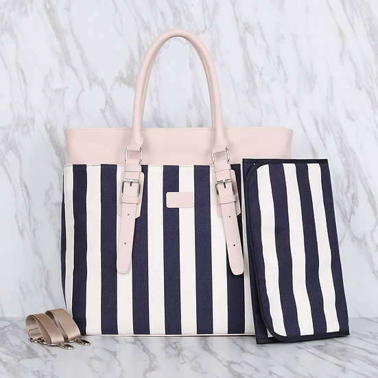 Navy blue striped pattern 12oz canvas square mommy diaper bag