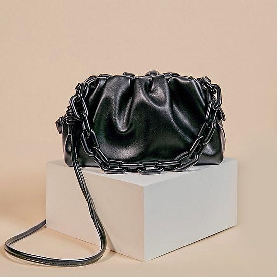 Marshmallow black color shoulder sling bag