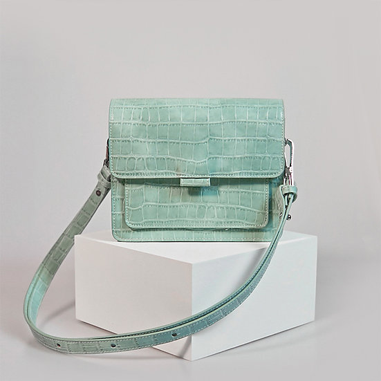 Coco Box turquoise  green color croco pattern crossbody shoulder bag