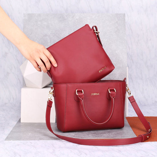 Petite Twin Bag - Red Color Vegan Leather Fashion Ladies Handbag