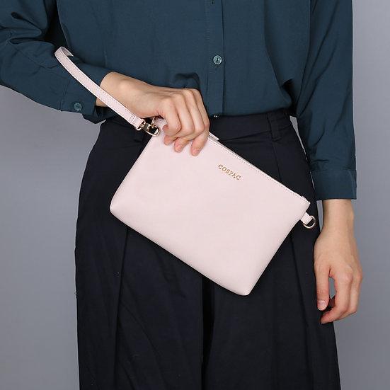 Light Pink Color PU Faux Leather Wristlet Zipper Clutch
