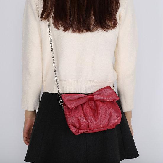 Red Color Organza Ribbon Bow Evening Bag / Clutch Bag