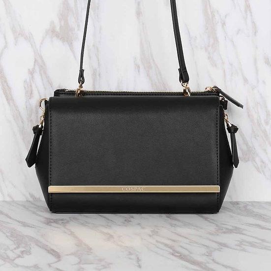 NIGHT BAG – Black color Vegan Leather Chain Shoulder Bag Set