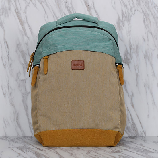 Turquoise and Mustard Yellow Color Waterproof Polyester Large Capacity Backpack