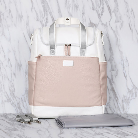 Baby pink vegan leather mummy diaper backpack