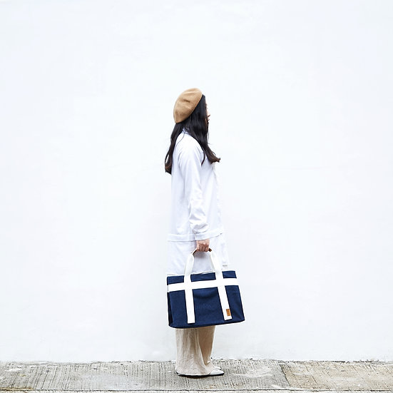Weekend tote style navy blue colorfast denim casual tote bag