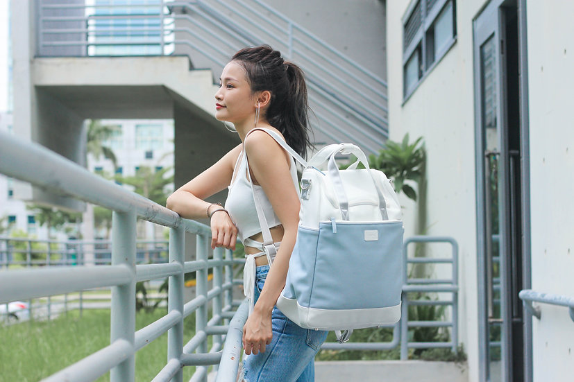 Baby blue vegan leather mummy diaper backpack