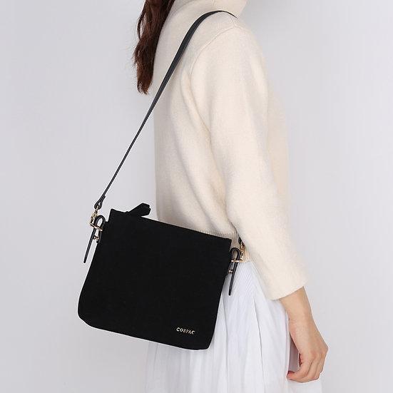 Petite Black Color Suedette Faux Leather Small Shoulder Bag