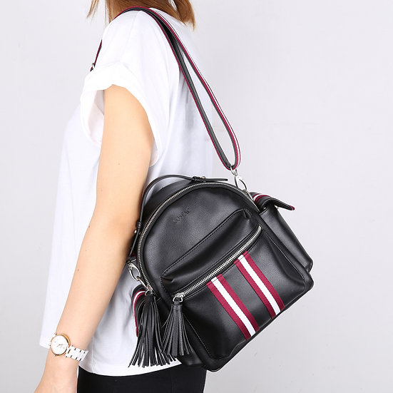 Black Color Textured Synthetic Leather Sporty Backpack