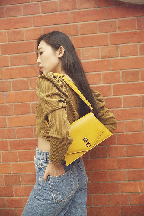 2 Yellow faux leather shoulder bag.jpg