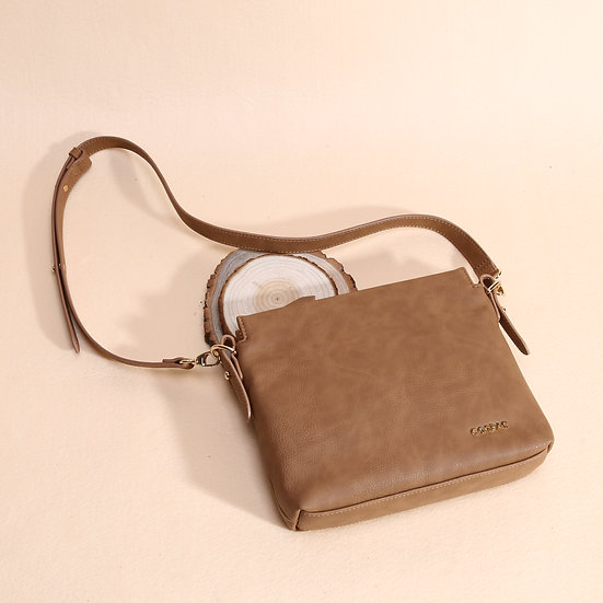 Petite Brown Color PU Faux Leather Small Shoulder Bag