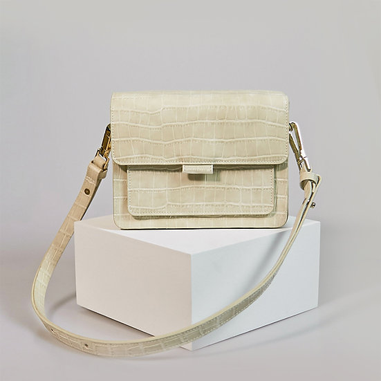 Coco Box beige color croco pattern women shoulder bag