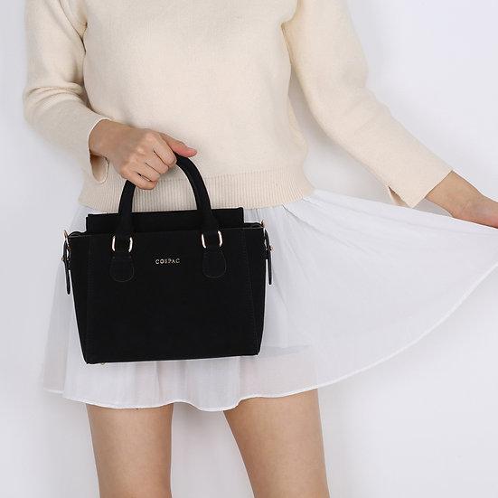 Petite Twin Bag - Black Suede Faux Leather Small Ladies Handbag Set
