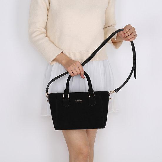 Petite Handbag - Black Color High Quality Suedette Leather Ladies Handbag