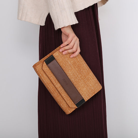 Light Brown Color Ramie Cotton Small Envelope Clutch Bag