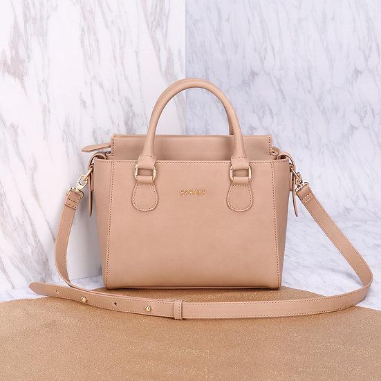 Petite Twin Bag - Khaki Brown Color Synthetic Leather Luxury Ladies Handbag