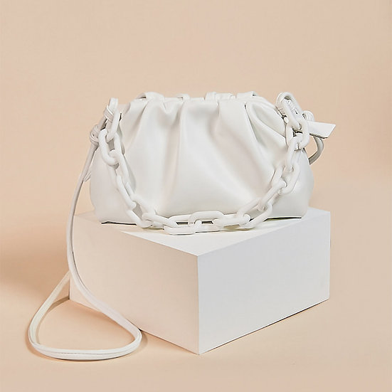 Marshmallow white color cloud sling bag