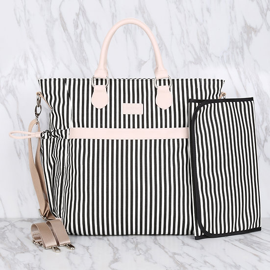 Black and white striped 100% cotton canvas mommy diaper bag