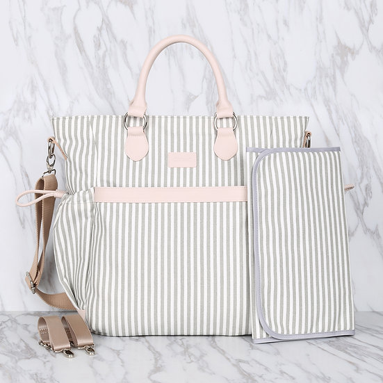 Grey and white striped 100% cotton canvas mommy diaper bag