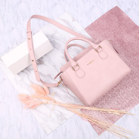 Petite Twin Bag - Light Pink Color Synthetic Leather Cute Ladies Handbag Set
