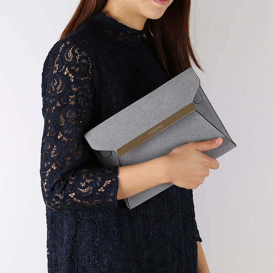 Grey Suedette Faux Leather Square Clutch Bag/ Evening Bag
