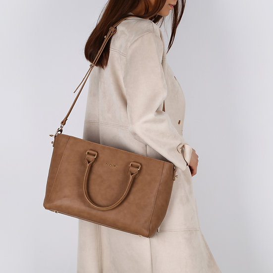 Brown Color Synthetic Leather Large Women Handbag