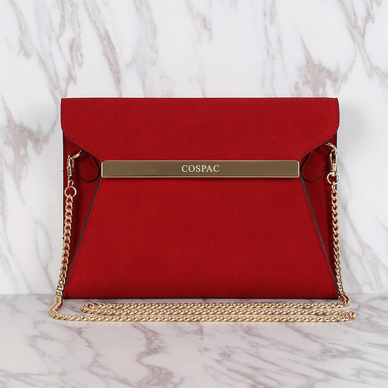 Red Suedette Faux Leather Square Clutch Bag/ Evening Bag