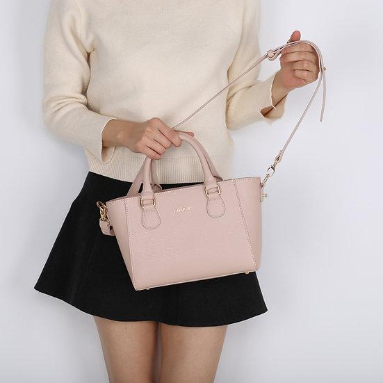 Petite Handbag - Light Pink Color Pebble PU Synthetic Leather Ladies Handbag