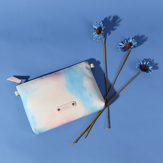 Girly Blue Watercolor Print Faux Leather Zipper Pouch